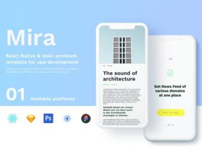 Mira – Premium UIkit & Mobile app template android app ios uikit mobile app design mobile app psd sketch app