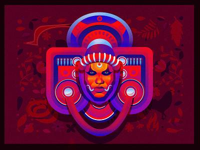 Theyyam theyyam fire spiritual art colorful kerala floral illustraion tribe