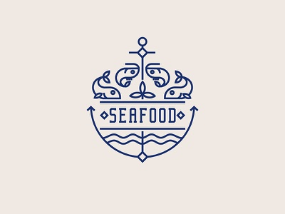 Monoline logo wave monoline symbol seafood restaurant logo icon food fish fastfood branding