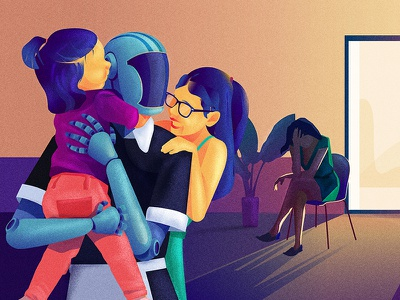 Love, on wages texture technology robot portrait illustration graphic future machine editorial digital