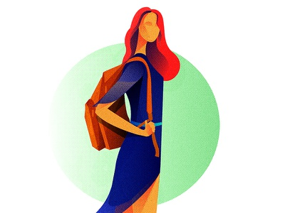 On her own terms! woman wavy hair fun exercise colourful character