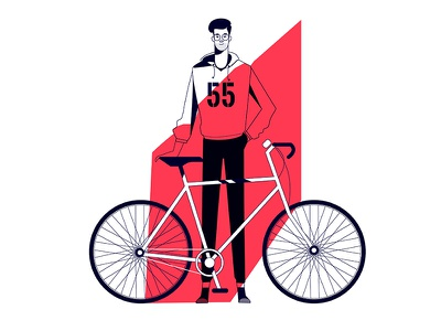 The urban cyclist vector tour texture sport speed race logo illustration flat cycling character bicycle