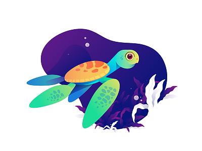 sea turtle turtle ocean sea illustration animal happy funny fun cartoon cute mascot character