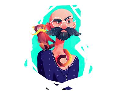 mustache colorful man monkey mustache character vector texture illustration