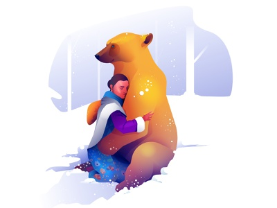 Golden Bear tribal woman bear friendship snow character illustration