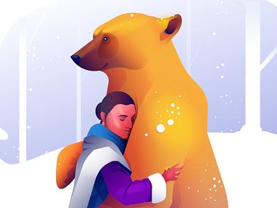Golden Bear love colorful bear animal animals woman vector minimal illustration