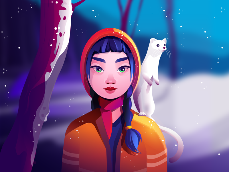 Snow girl and the weasel visual eye sunlight gradient snow asian girl weasel animal animals woman vector illustration