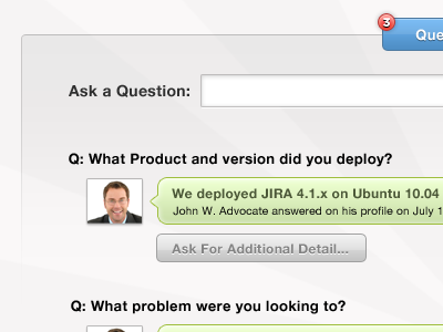 Questions and Answers web app chat tabs