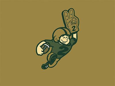Throwback Wingback touchdown wingback throwback vintage character run 2 two foam finger gold green helmet concept logo football
