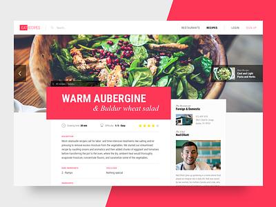 Recipes Website greens page landing restaurant chef recipes website ui