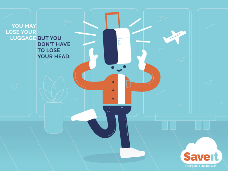Don't lose your head! cloud character luggage travel illustrator vector illustration