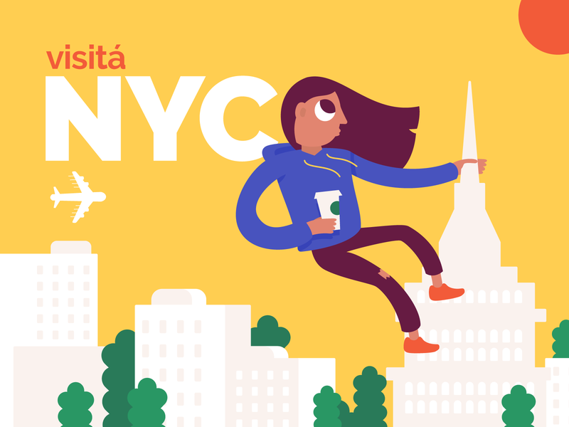 Visit NYC 🇺🇸 ilustracion travel agency nyc vector coffee illustrator travel