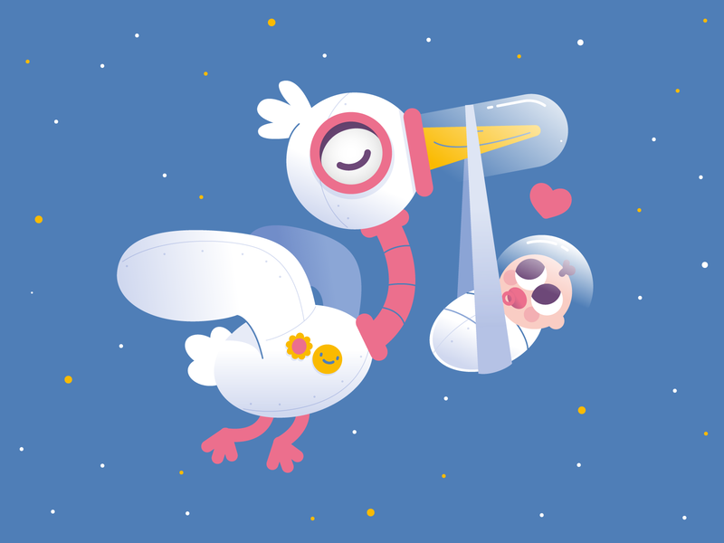 Space Stork illustration bird astronaut cute baby space stork