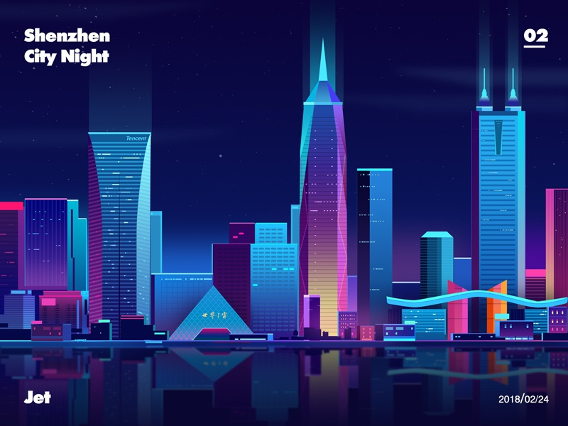 Shenzhen city night windows zhujet jet light futur color night city shenzhen