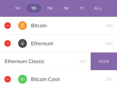 Coin Reordering mobile ios ethereum crypto bitcoin circle