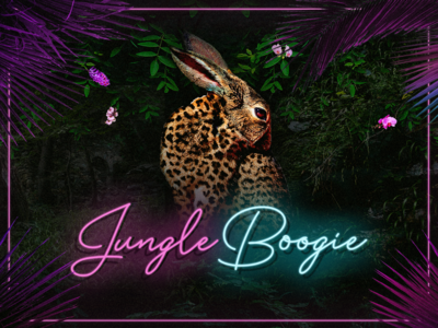 Event Announcement collage jungle neon music party leopard flyer