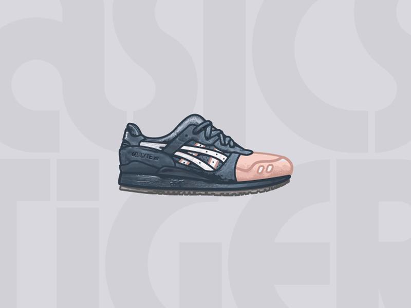 Asics Gel-Lyte III Ronnie Fieg Salmon Toe illustrator illustration midwest adobe flat texture shoe kith sneakers shoes