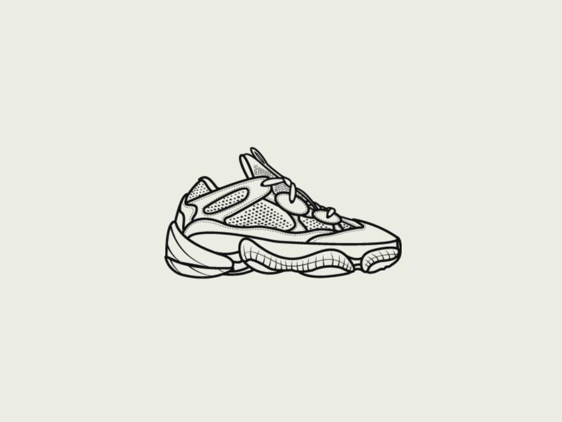 Adidas Yeezy Desert Rat 500 illustrator illustration flat design flat sneakers shoes rat desert kanye yeezy adidas