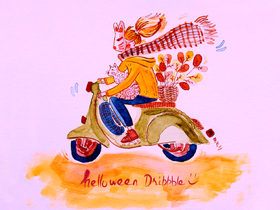 Helloween Dribbble illustration scooter watercolor