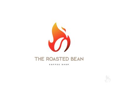 The roasted bean      6/50 red roasted coffee shop orange logo design gergana hristova daily logo challenge dailylogochallendge hristova gergana logo design