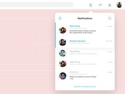 Daily UI Challenge 049 - Notfications daily ui challenge daily ui ui ux app design web design graphic design notifications