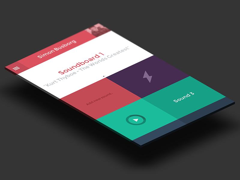 Soundboard App app phone mobile web app mobile app design player ui flat user profile typography neon green red purple icon iphone5 ios