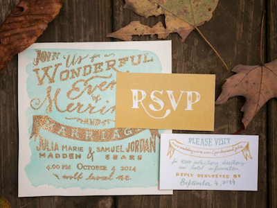 JuJo Forever wedding invitations typography handlettering handwritten graphic design rsvp watercolor gold emboss