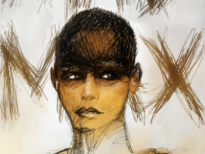Mad Max mad max dust girl movie portrait lettering hand pencil grunge handdrawn poster