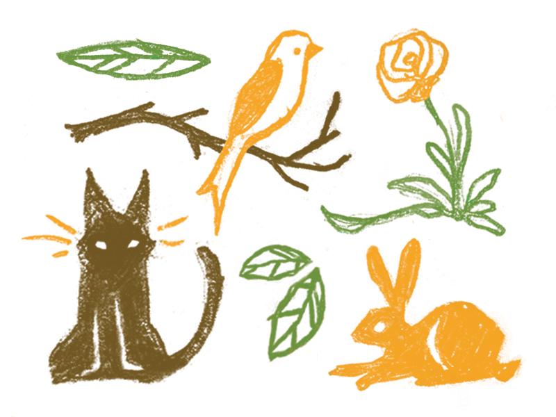 Secrets nature flower leaves rabbit cat bird texture handmade animal illustration handdrawn