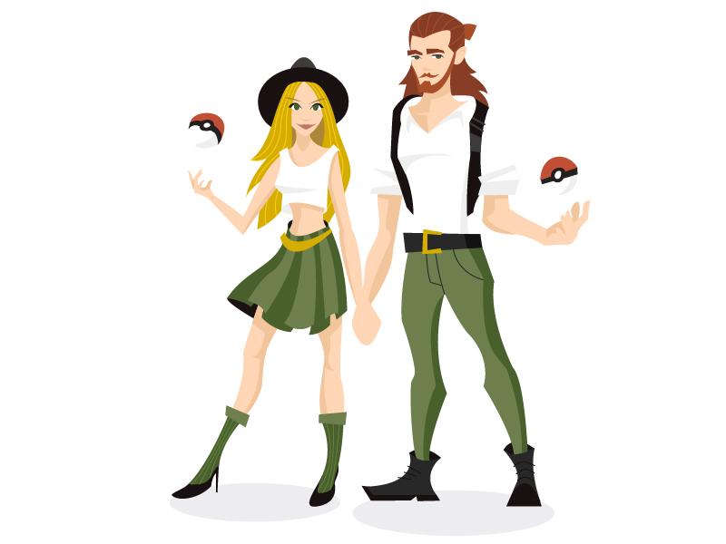 Gotta Catch Em All hipster cartoon love couple vector illustration go pokemon
