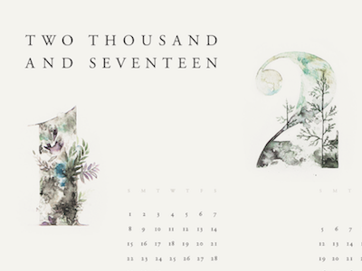 2017 typography numerals month watercolor art collaboration floral painting calendar 2017