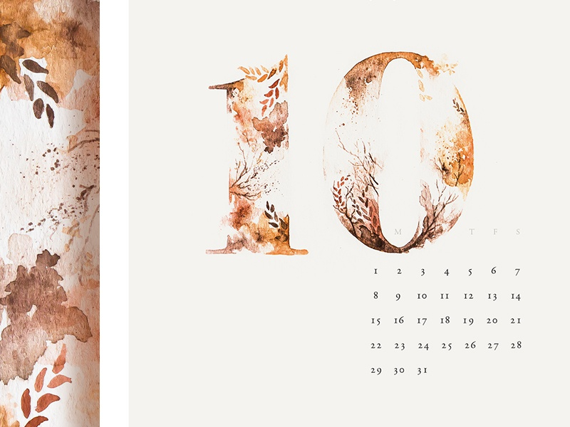 October watercolor typography painting numerals month floral collaboration calendar art 2017