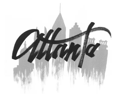 ATL southeast urban city skyline calligraphy. typography brush atl atlanta lettering