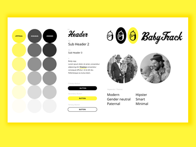 Baby Tracking App - UI Style Guide hipster babies baby yellow styleguide logo branding guide tile style app tracking