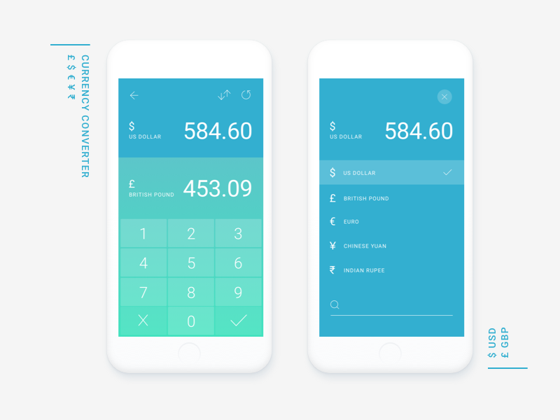 Currency Converter App UI numbers dashboard keypad pound dollar mobile ui app calculator converter currency