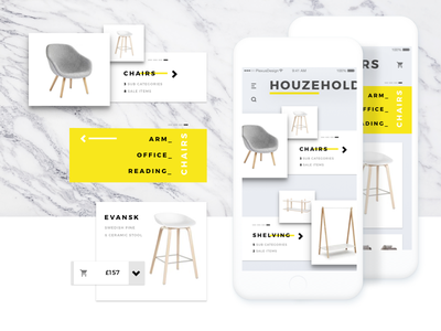 Shop Cards - Mobile App UI mobile app ecommerce shop modern scandi grey ui furniture cards minimal