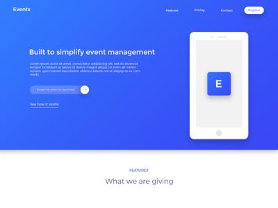 Events-Landing Page Concept creative inspiration project landing page uiux ui design design