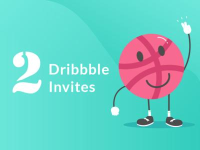2 Dribbble Invites gradient flat design cute illustration basketball player vector character design invitation dribbble character