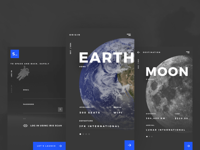Spaced App Concept travel spacex spacedchallenge space sci-fi moon design dark booking ux ui app