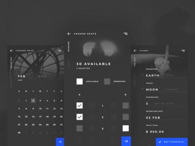 Spaced App Concept ux ui spacedchallenge space seats design dark concept clean booking ticket app