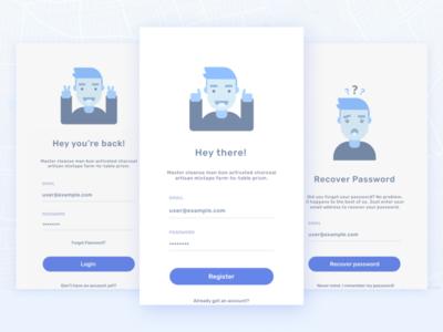 Egeote App ui password signup login mobile illustration icon flat design clean character app