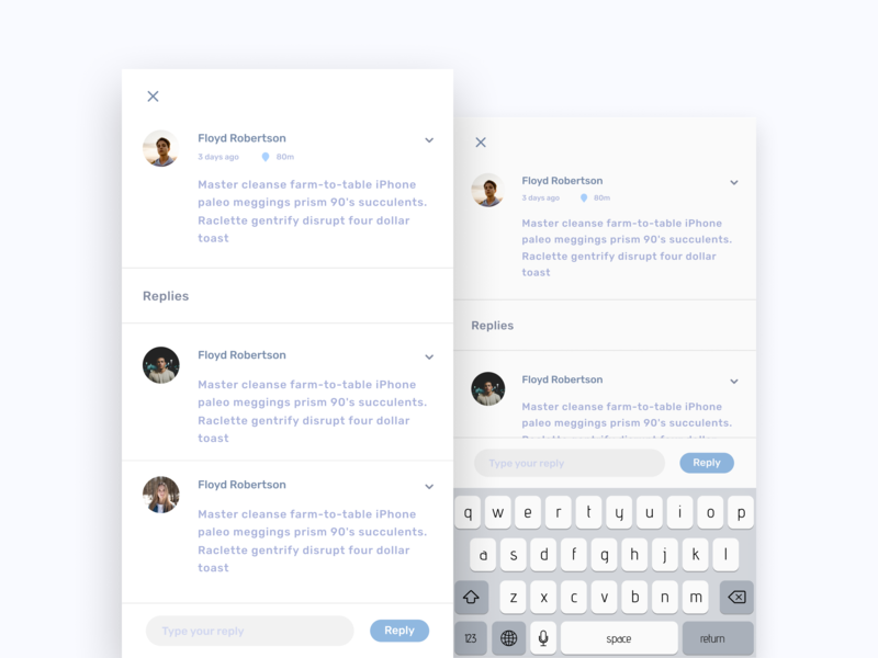 Drops - Reply reply minimal flat concept mobile app ux clean ui design