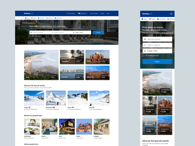 Booking com Home Page Redesign responsive web design responsive design home page mobile responsive booking.com web design ui sketch