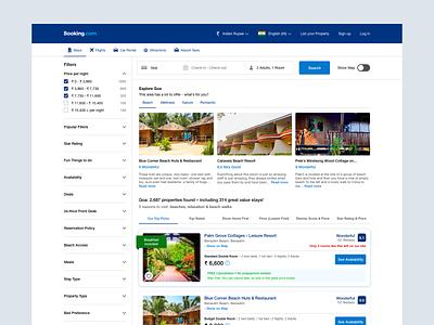 Booking.com Search Result Redesign Design redesign listing page listing search result booking.com web design ui sketch