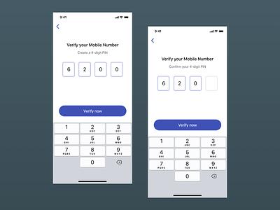 Mobile Verification 4 Digit Pin UI Concept otp verification verify iphone x design ui sketch