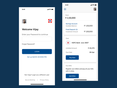 HDFC Login & Dashboard Redesign Concept redesign concept design hdfc banking iphone x ui sketch