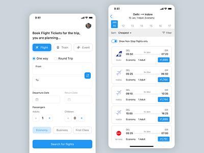Booking App Concept -  Flights, Train & Event Tickets flight booking design iphone x ui sketch