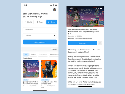 Booking App Concept - Events