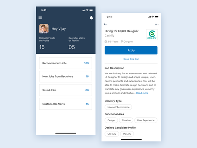 Naukri App Dashboard UI Concept dashboard naukri design iphone x ui sketch