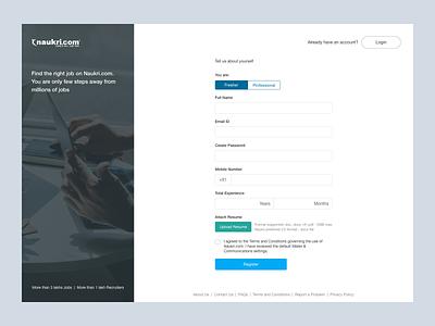 Naukri App Sign Up UI Concept naukri sign up web design ui sketch